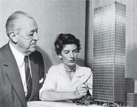 Ludwig Mies van der Rohe and Lambert with the model for the Seagram Building, New York, 1955.